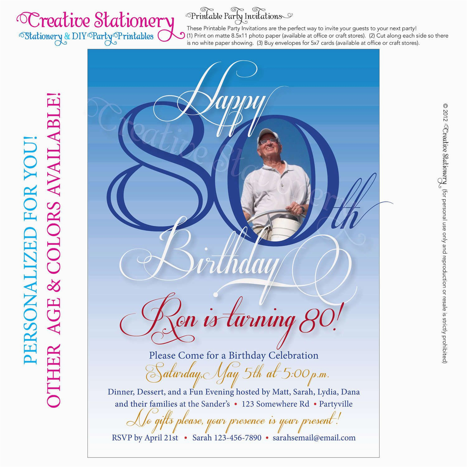 Free Printable Invitations For 80th Birthday Party