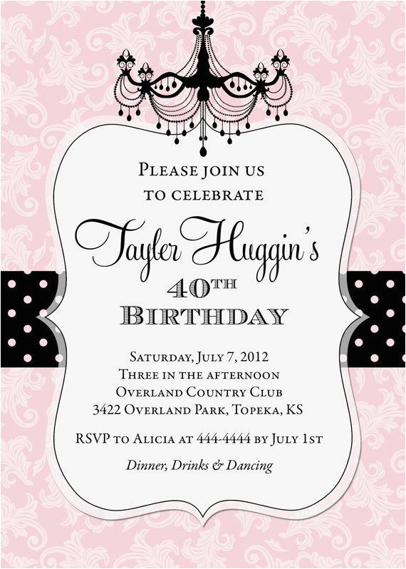 adult chandelier birthday invitation printable colors