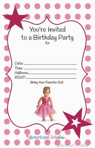 Free Printable American Girl Birthday Cards American Girl Party