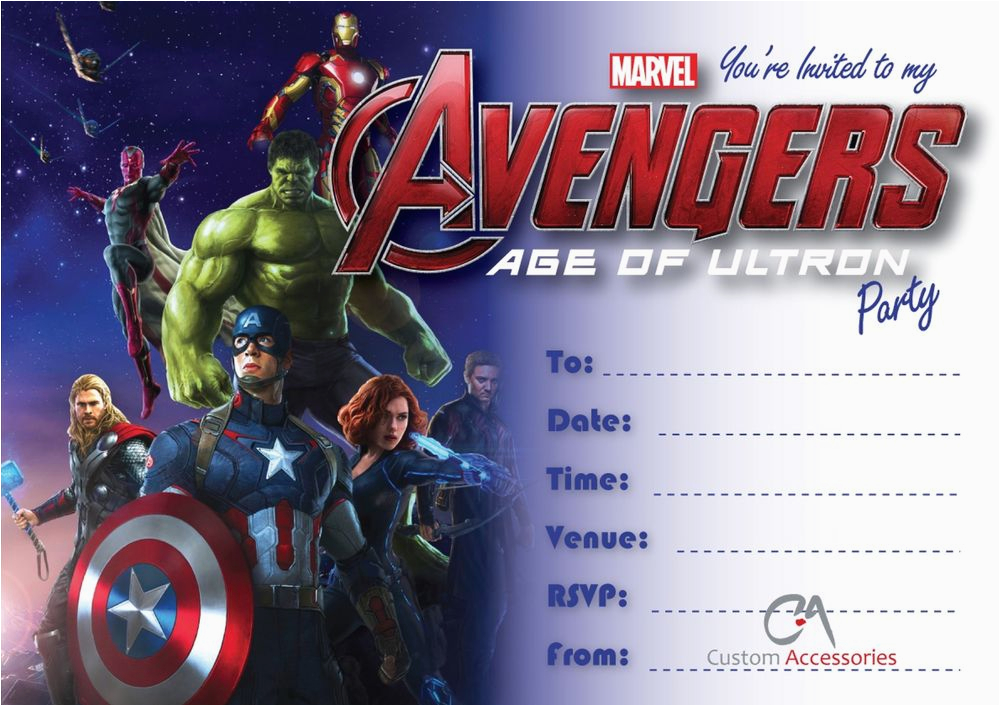 Free Printable Avengers Birthday Party Invitations Age Of Ultron Marvel Kids