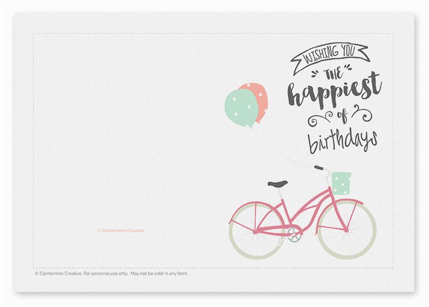 printable birthday card bicycle