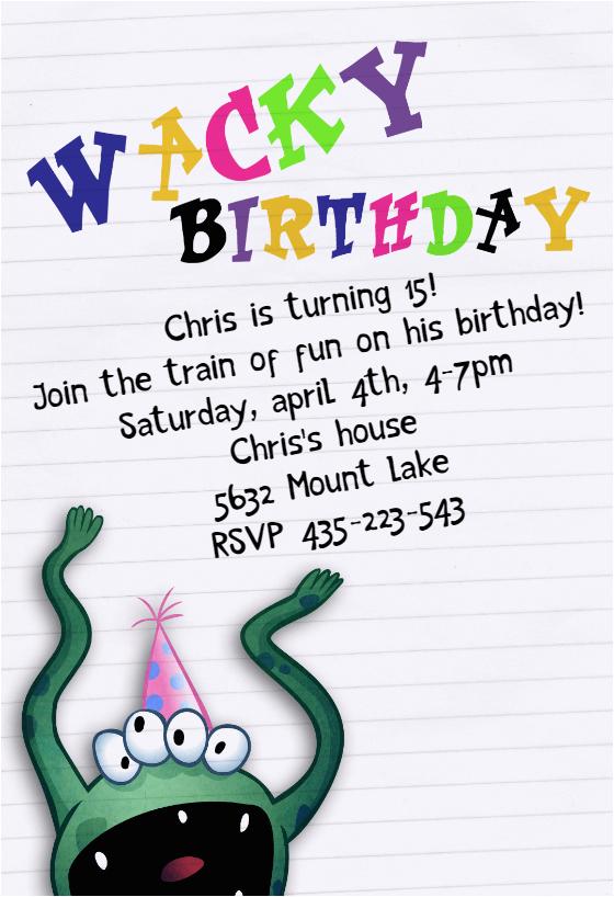 Free Printable Birthday Cards for My son Wacky Birthday Free Birthday Invitation Template
