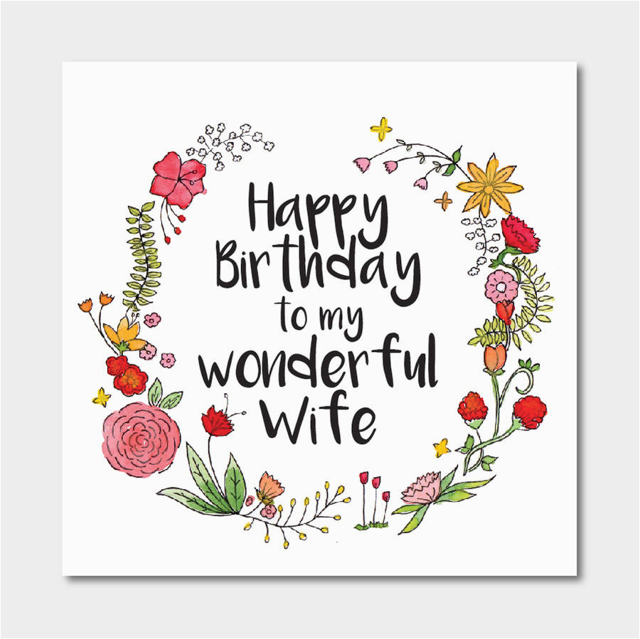 floral 39 happy birthday to my wonderful wife 39 card by