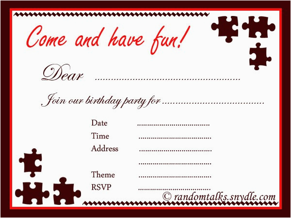 printable birthday party invitation for adult