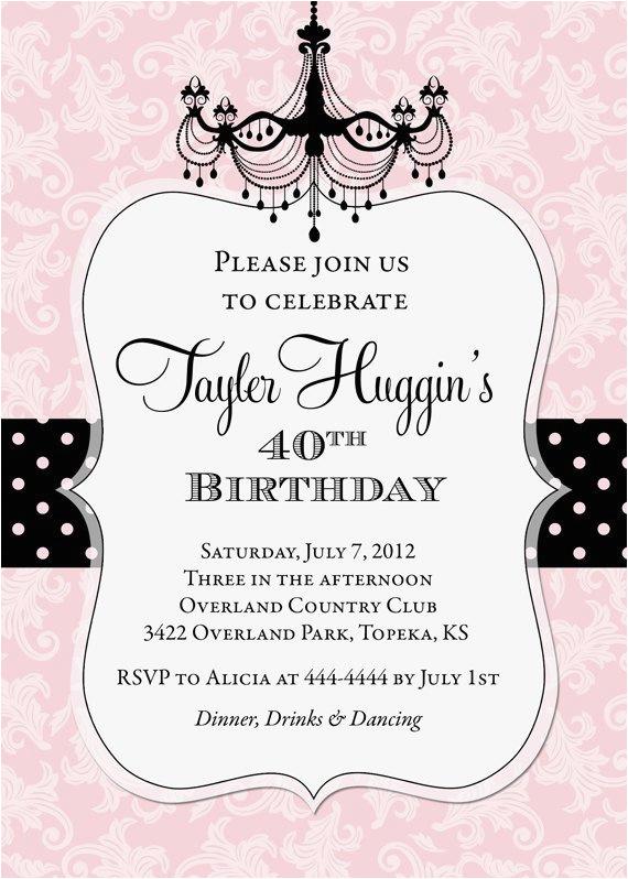 adult chandelier birthday invitation printable colors