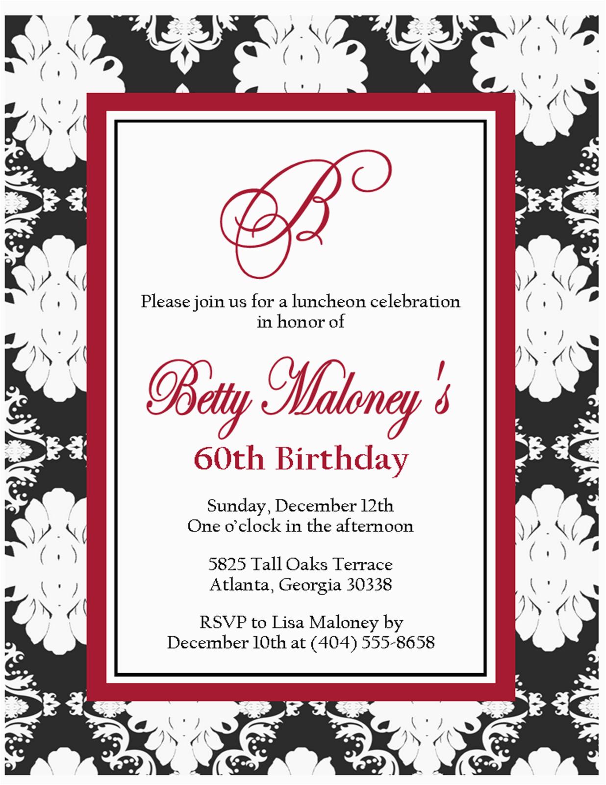 Free Printable Black And White Birthday Invitations Invitation