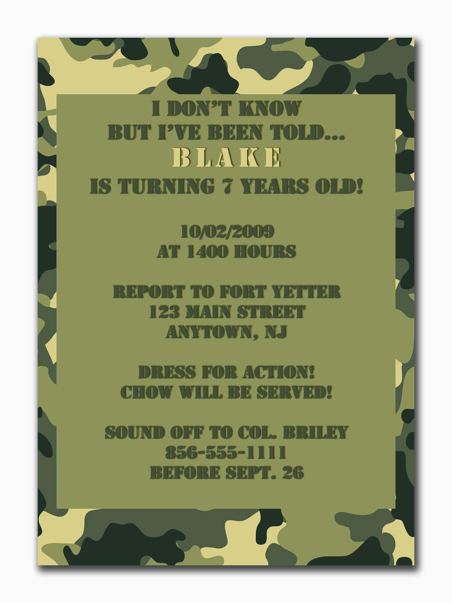 birthday invitation templates camouflage birthday