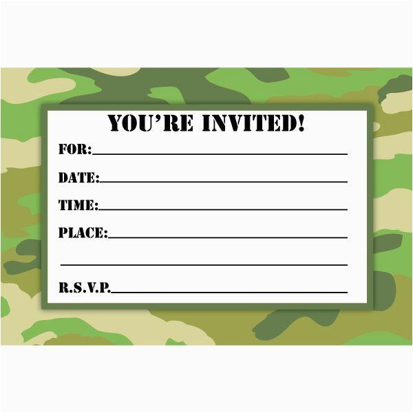 camouflage birthday invitations printable free download