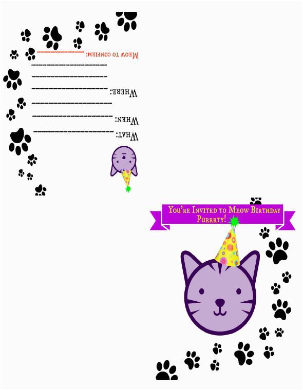 free printable cat themed birthday card