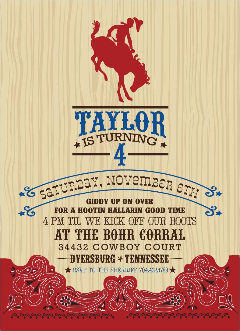 Free Printable Cowboy Birthday Invitations Invitation
