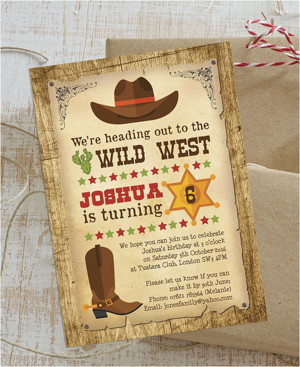 Free Printable Cowboy Birthday Invitations Wild West Party Invitation From 0 80 Each