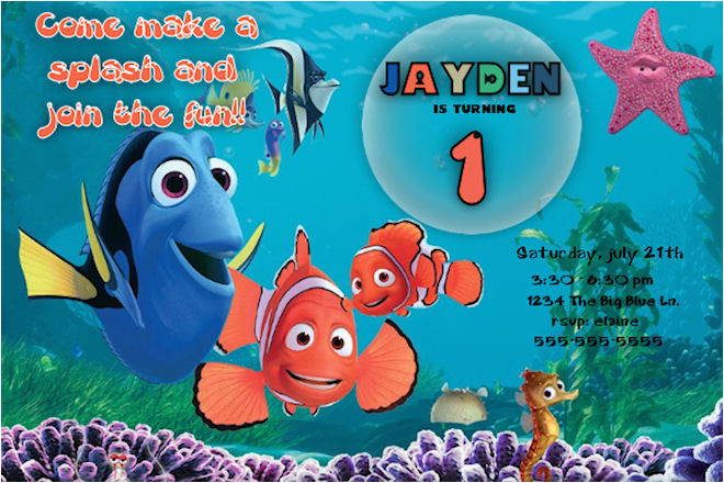 finding nemo birthday invitation printable file diy finding nemo birthday invites custom invitation