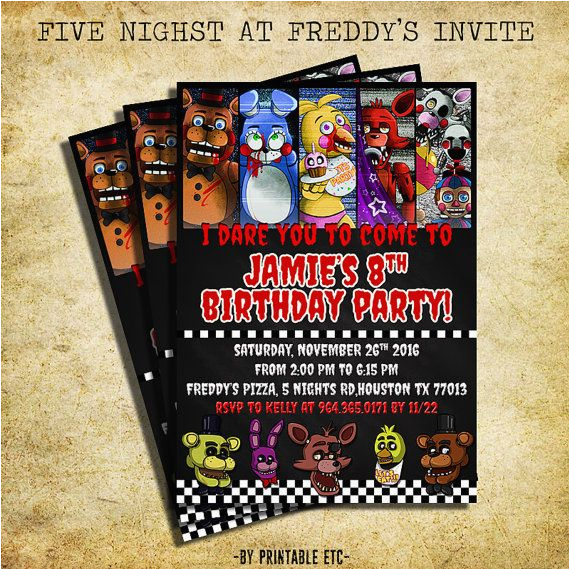 Free Printable Five Nights at Freddy S Birthday Invitations Five Nights at Freddy 39 S Invitation Fnaf Invitation