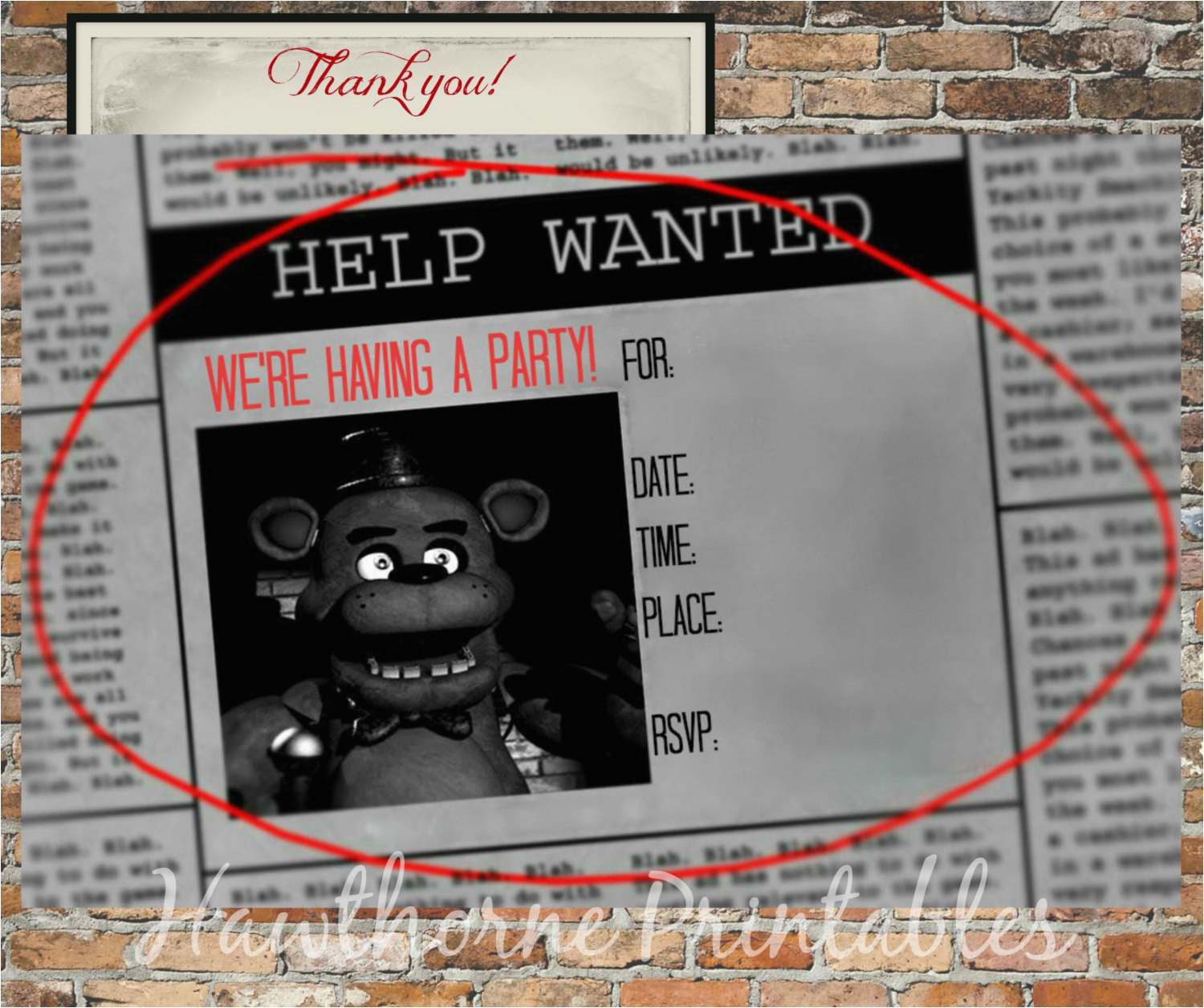 Free Printable Five Nights at Freddy S Birthday Invitations Five Nights at Freddy 39 S Invitations and Thank You Cards