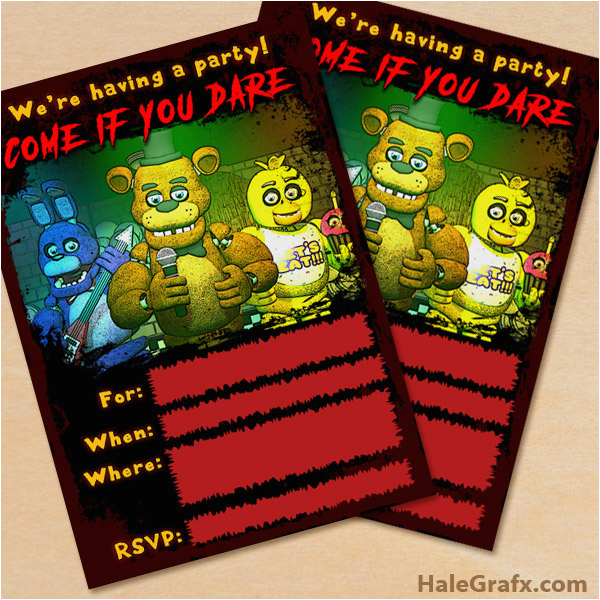 free printable five nights at freddys party invitation