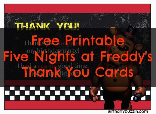 Free Printable Five Nights at Freddy S Birthday Invitations Free Printable Five Nights at Freddy S Thank You Cards