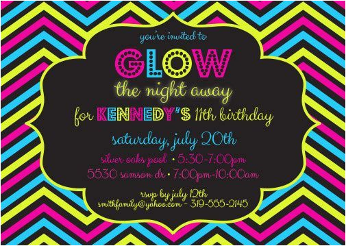 Post Glow Party Invitations Printable 308602