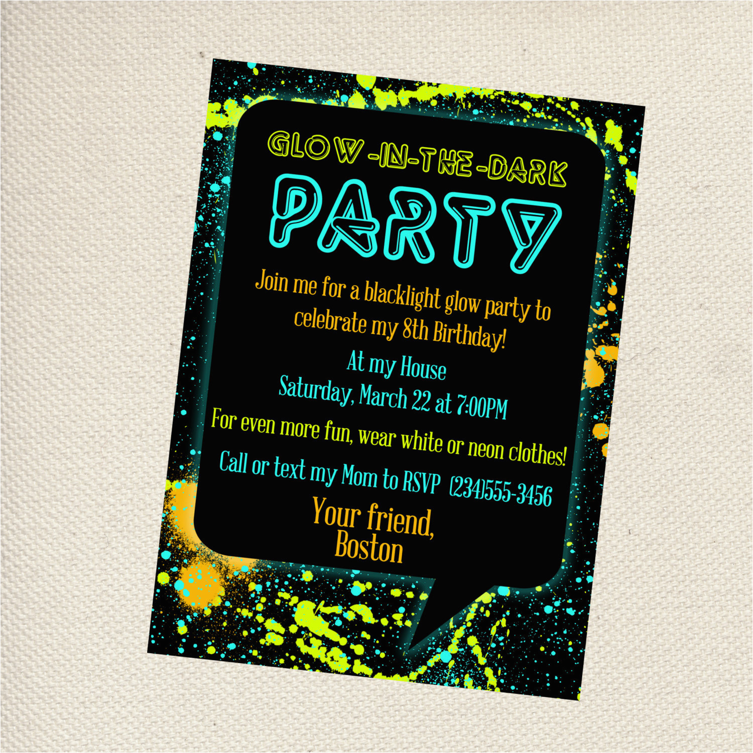 Free Printable Glow In The Dark Birthday Party Invitations Create