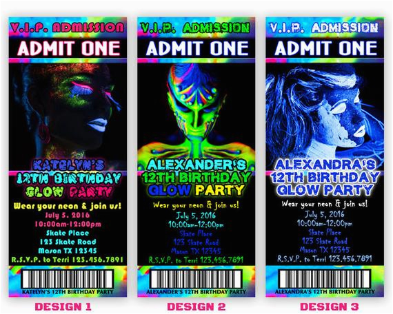 Free Printable Glow In The Dark Birthday Party Invitations Invitation