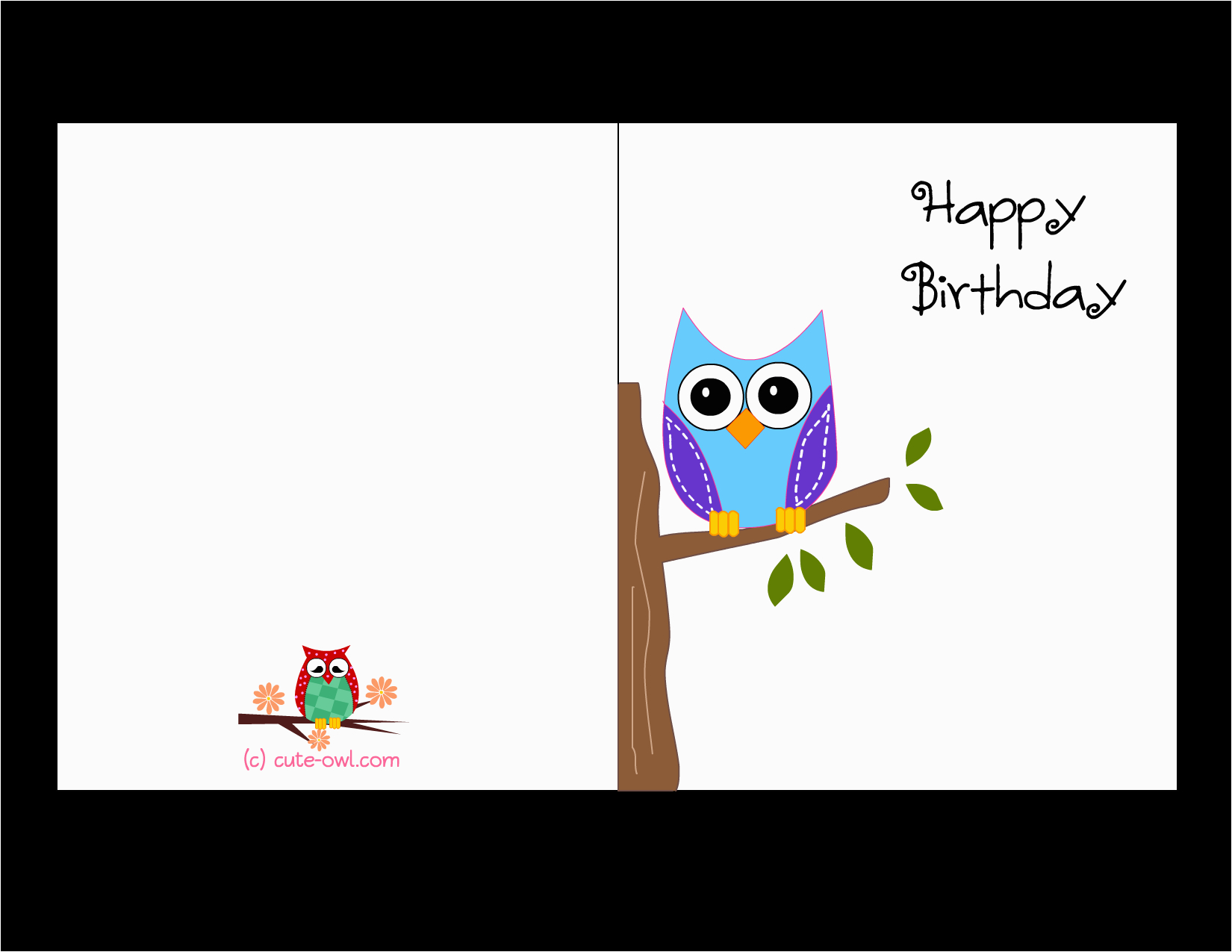 Free Printable Happy Birthday Cards Online Cute Owl