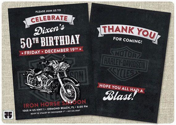 harley davidson biker birthday invitation card includes