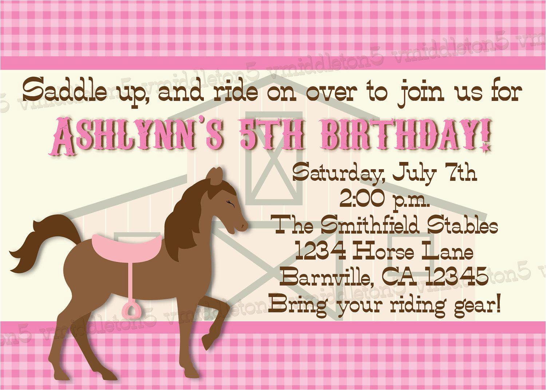 free printable horse birthday invitations