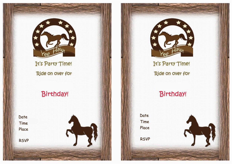 free printable horse birthday invitation