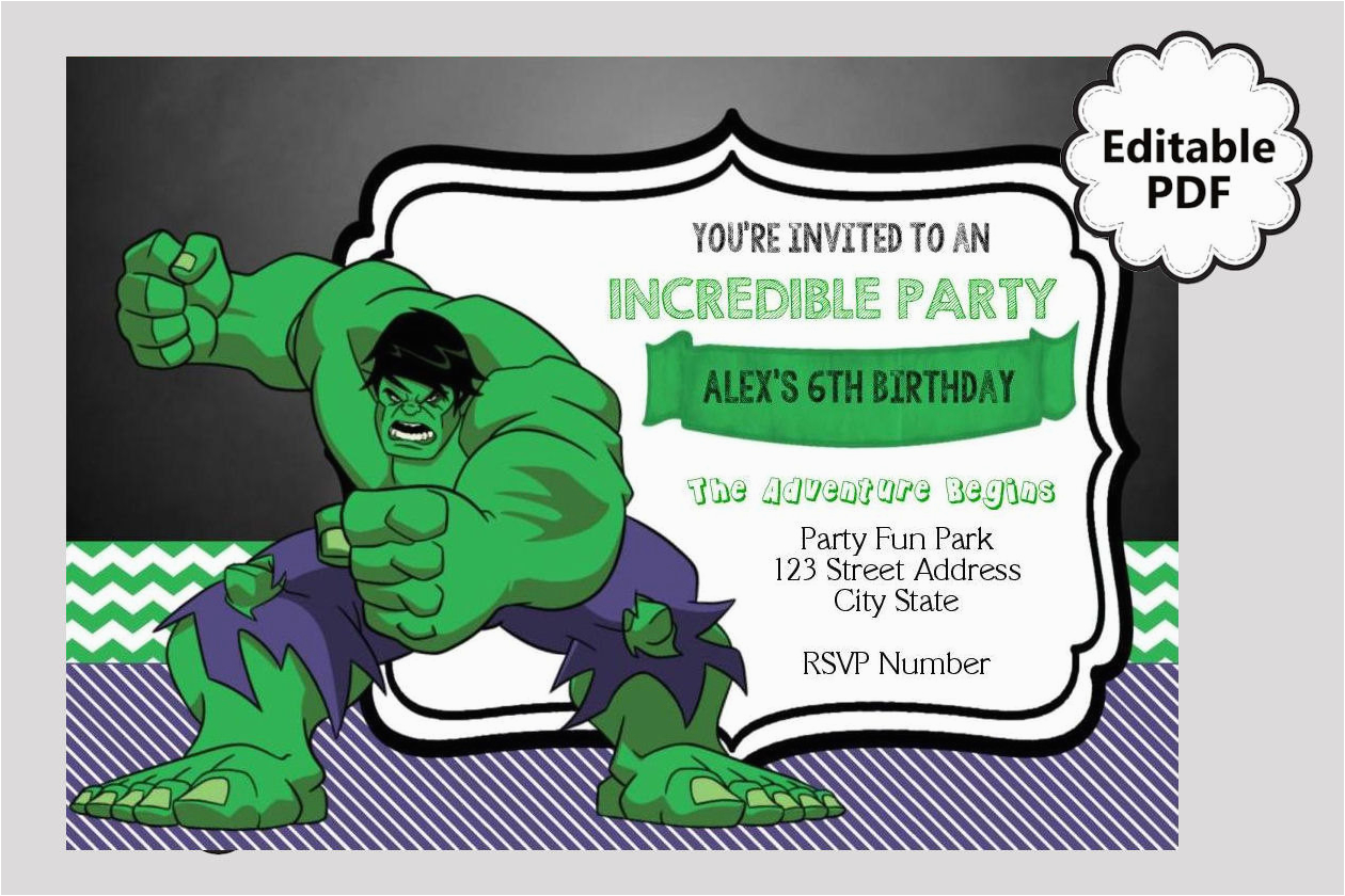 Free Printable Hulk Birthday Invitations Editable Text Invitation Party Invites