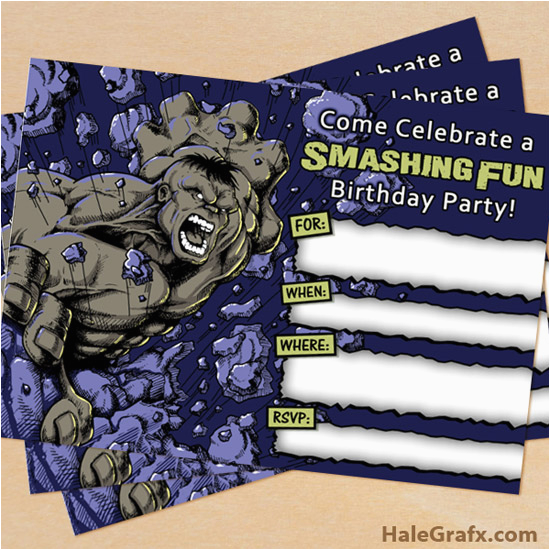 Free Printable Hulk Birthday Invitations Grey Incredible Invitation