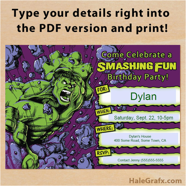 Free Printable Hulk Birthday Invitations Incredible Invitation