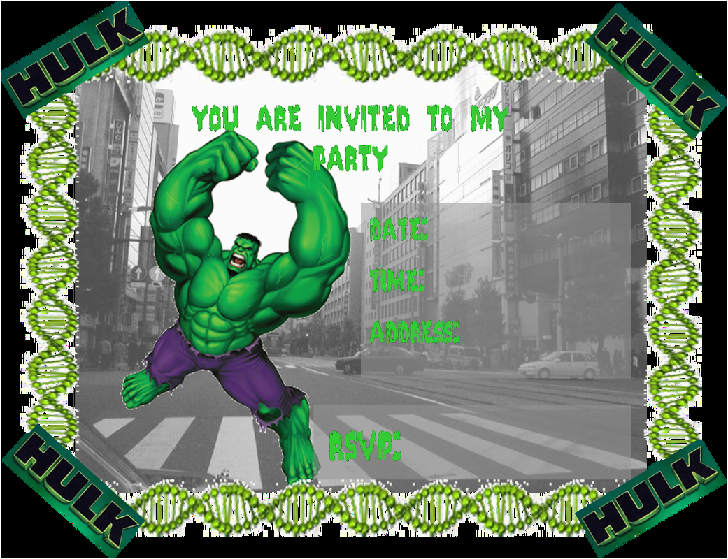 hulk party invitations free