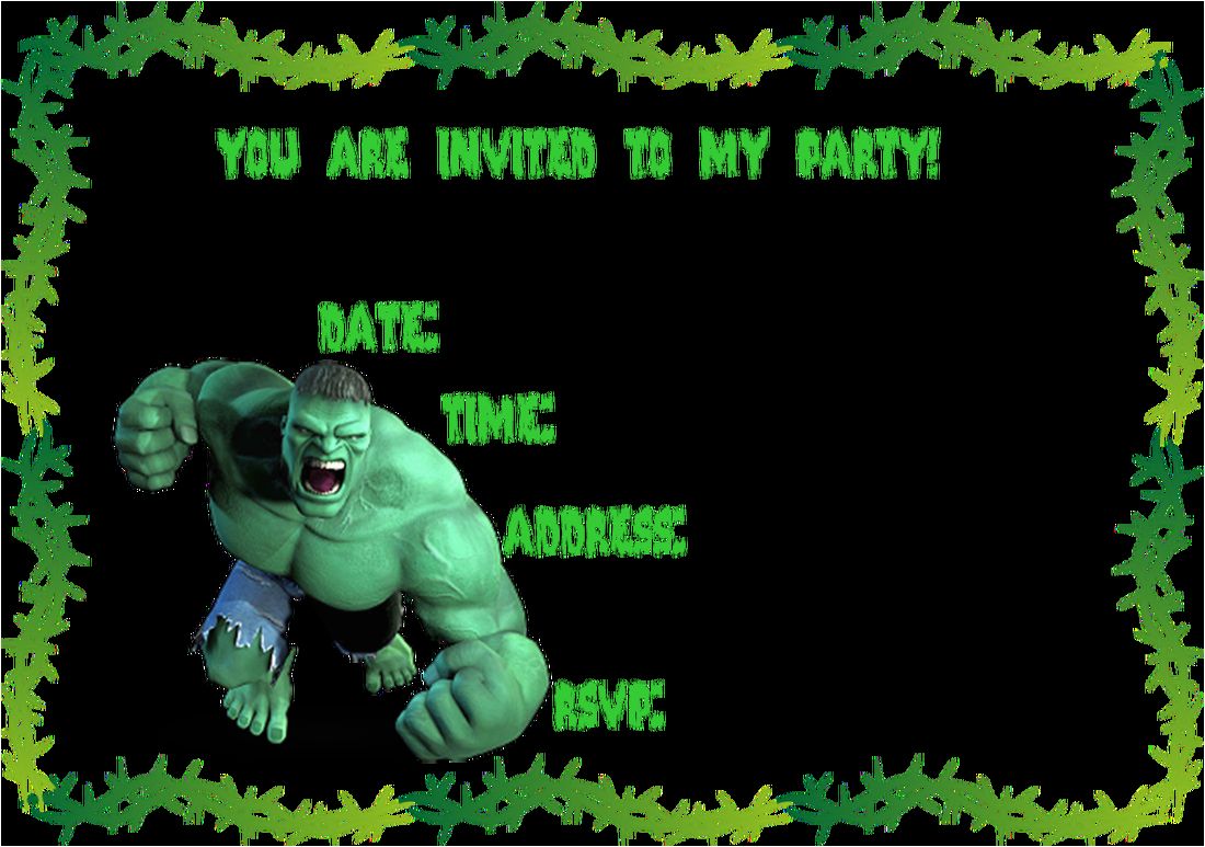 Free Printable Hulk Birthday Invitations Ideias Para Festa Infantil Do Incrivel De