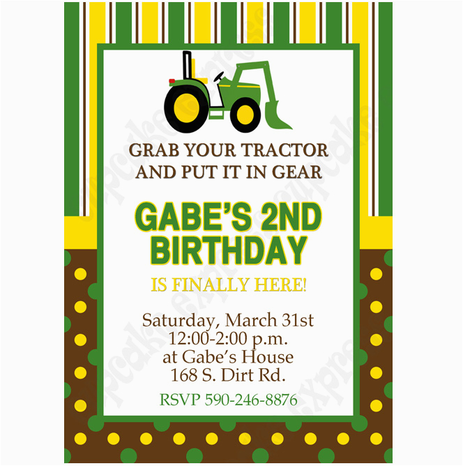 john deere inspired printable invitation 1 diy green yellow