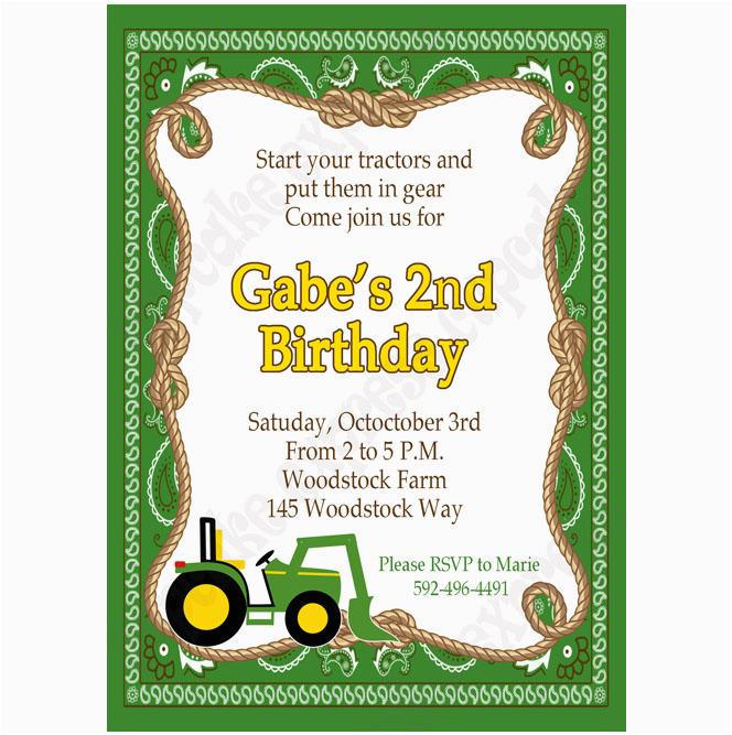 Free Printable John Deere Birthday Invitations Inspired Invitation 5 Diy Green Yellow