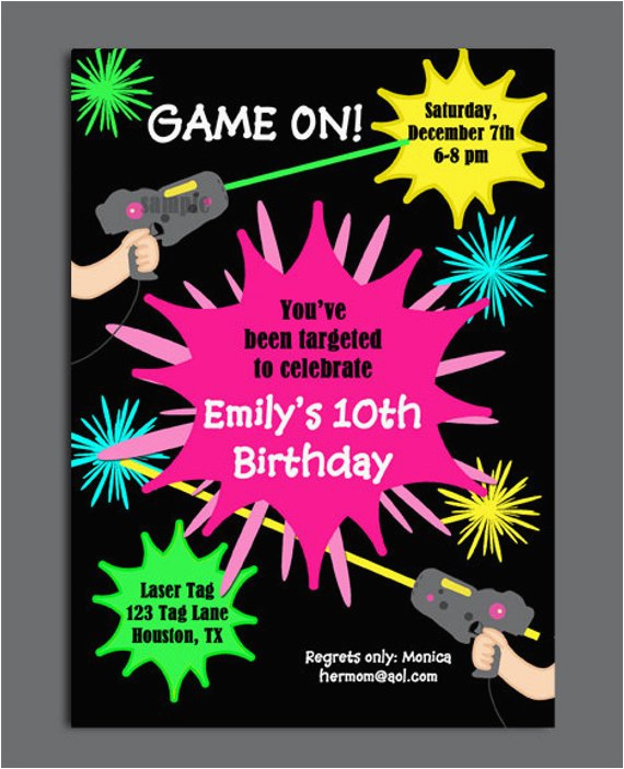 laser tag girl birthday invitation