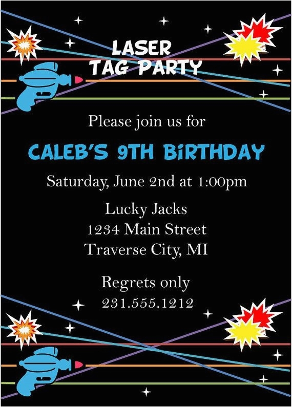 photograph about Laser Tag Birthday Invitations Free Printable identified as Printable Laser Tag Birthday Celebration Invites - Letter