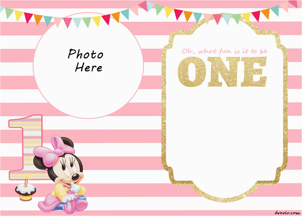 Free Printable Minnie Mouse 1st Birthday Invitations Free Printable Minnie Mouse 1st Invitation Templates