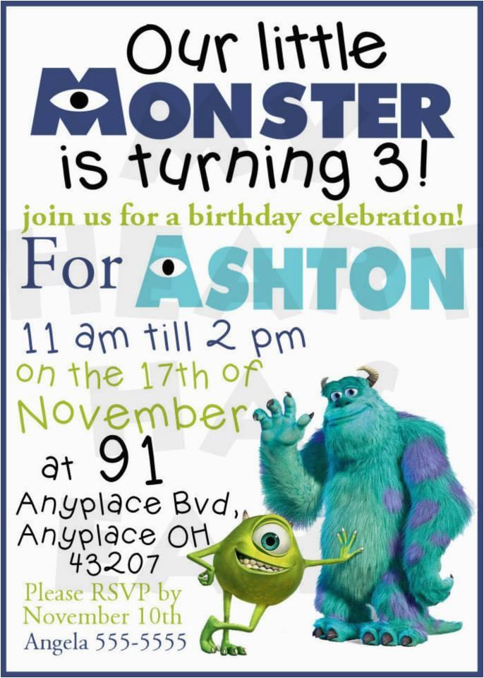 monsters inc birthday custom digital invitation