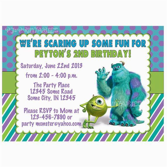 monsters inc birthday invitation custom digital