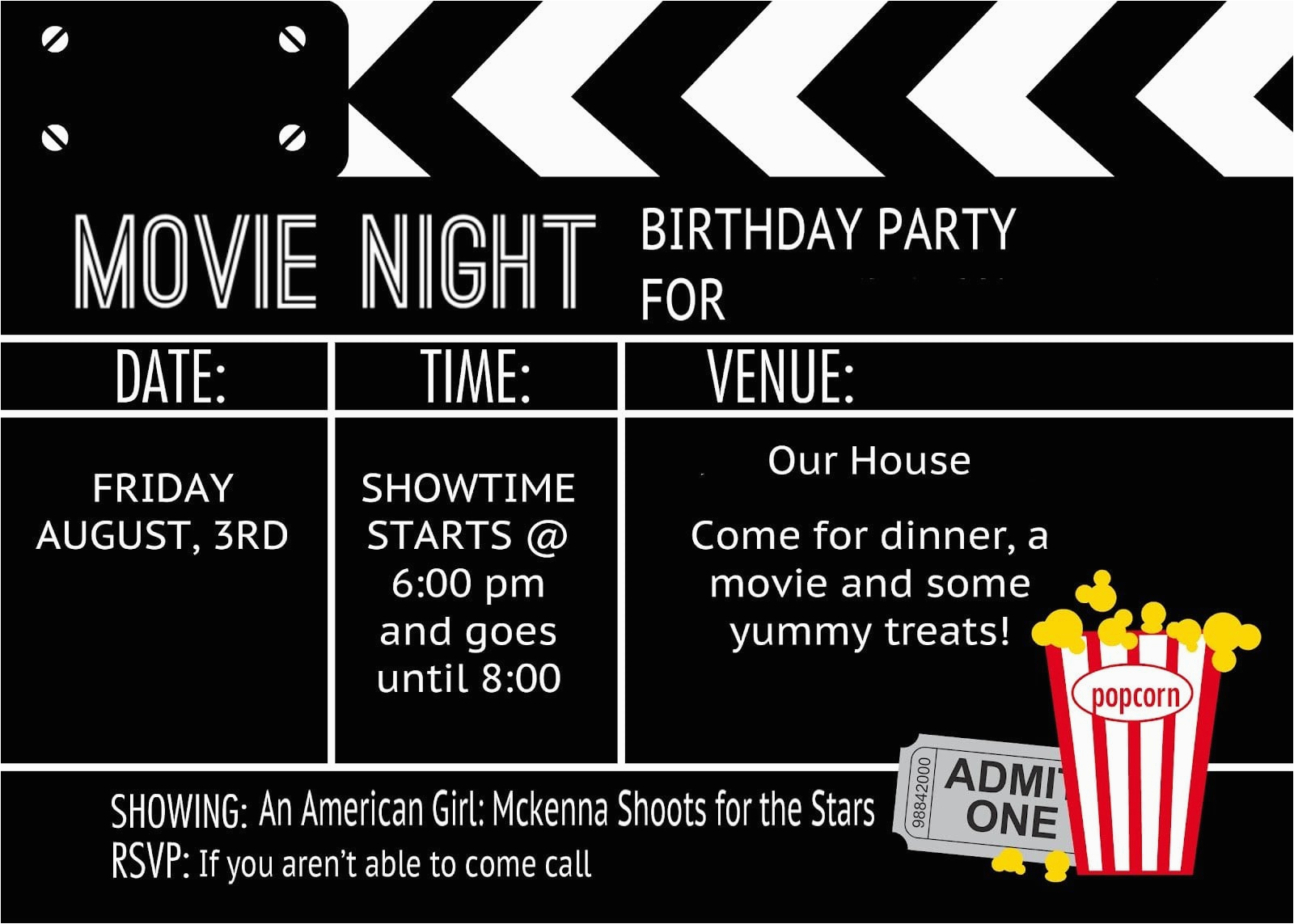 Free Printable Movie Themed Birthday Invitations 40th Birthday Ideas