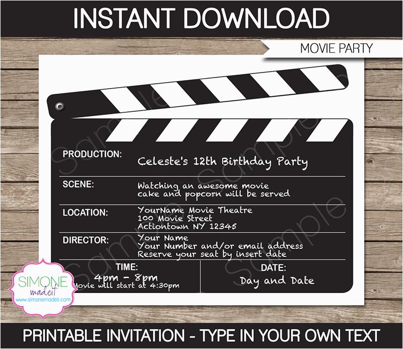 Free Printable Movie Themed Birthday Invitations Night Party Template