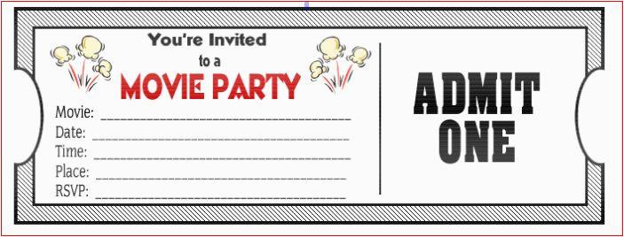Free Printable Movie Themed Birthday Invitations Ticket Ideas Bagvania