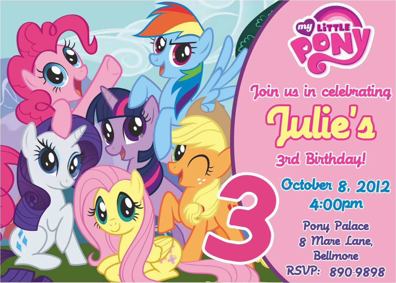 Free Printable My Little Pony Birthday Invitations Party