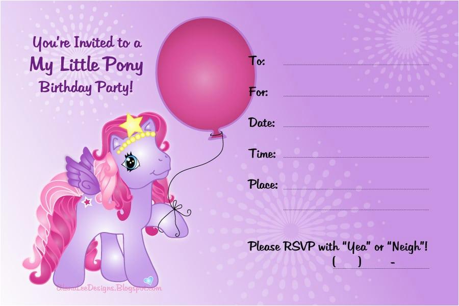 my little pony invitation free printable