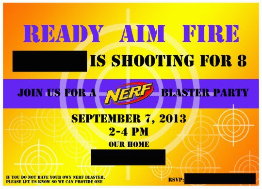 Free Printable Nerf Birthday Party Invitations Nerf Gun