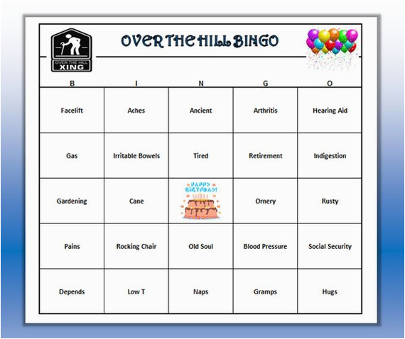 over the hill birthday party bingo game