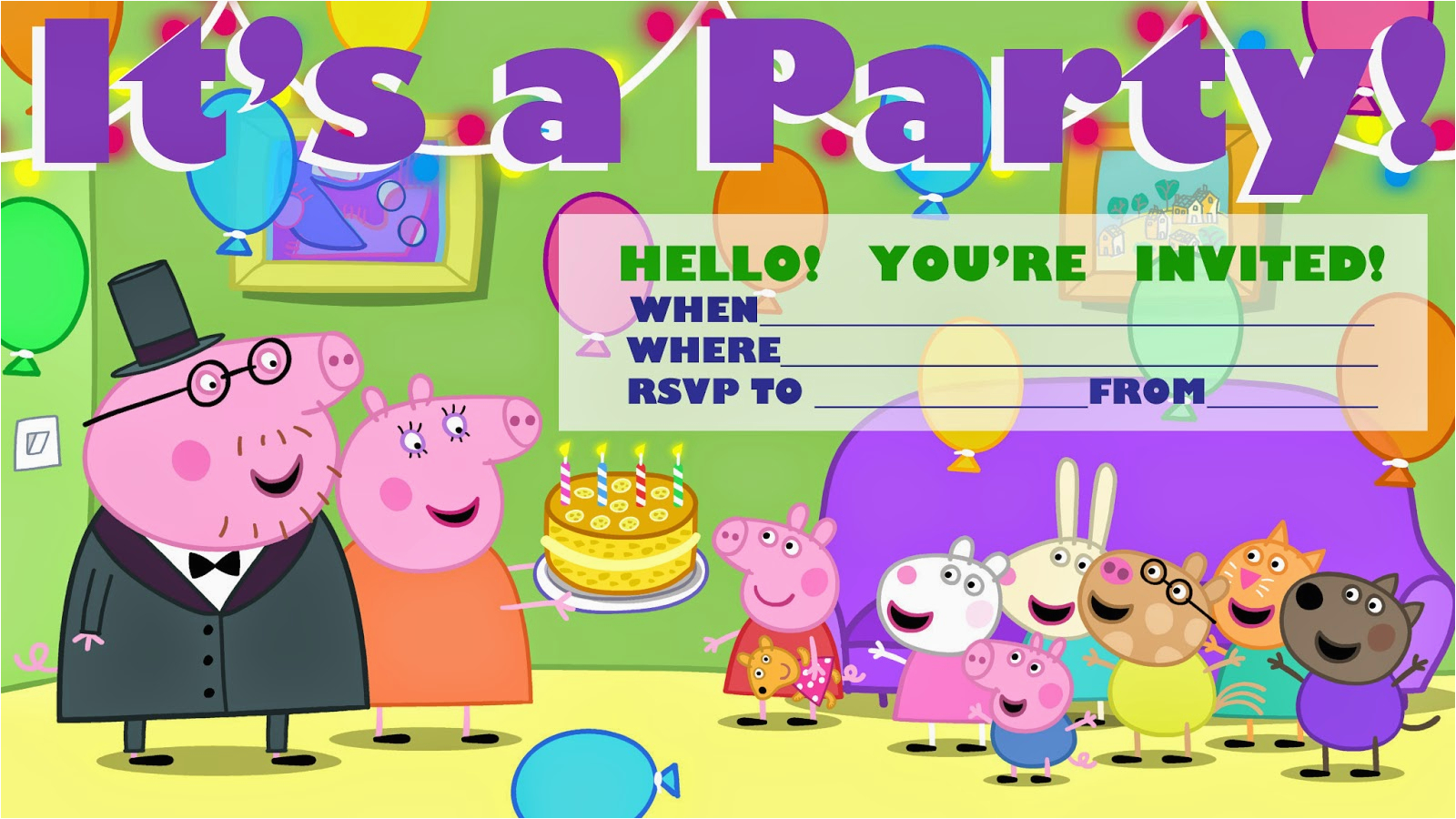 Peppa Pig Party Invitation And