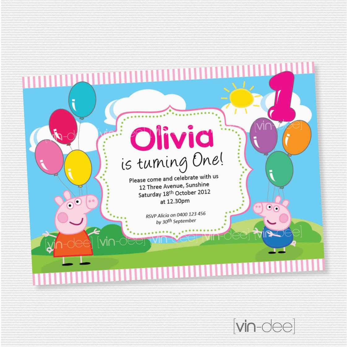 Free Printable Peppa Pig Birthday Invitations Balloons Invitation Diy Printables