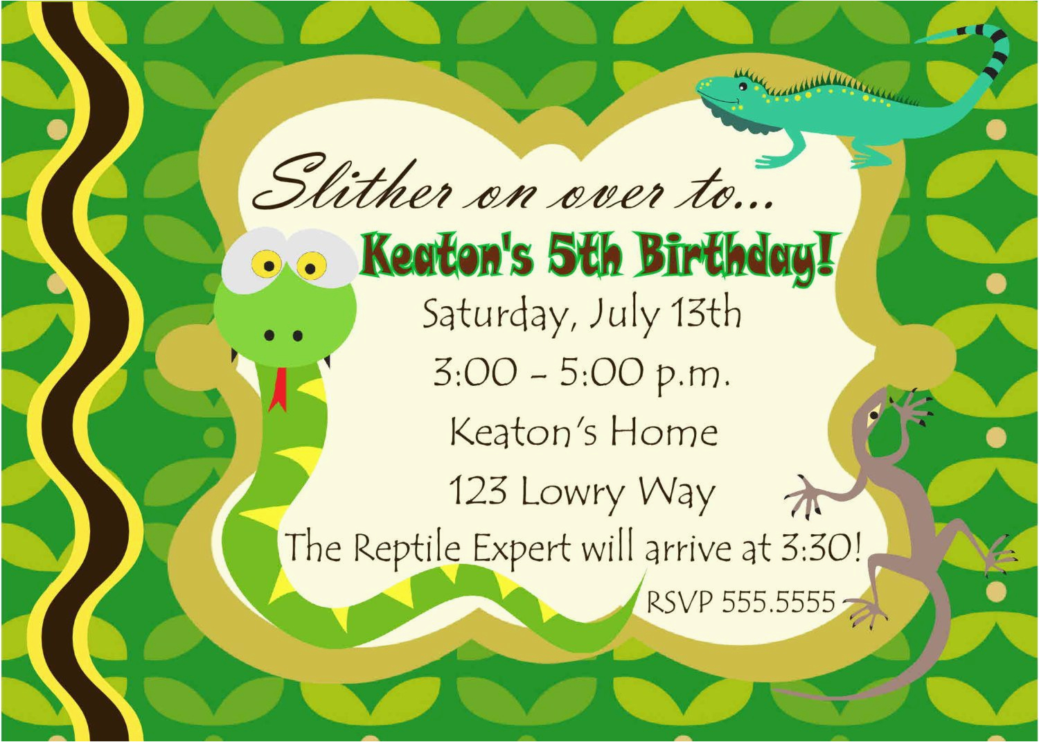 Free Printable Reptile Birthday Invitations Digital Snake Photo Party Invitation You