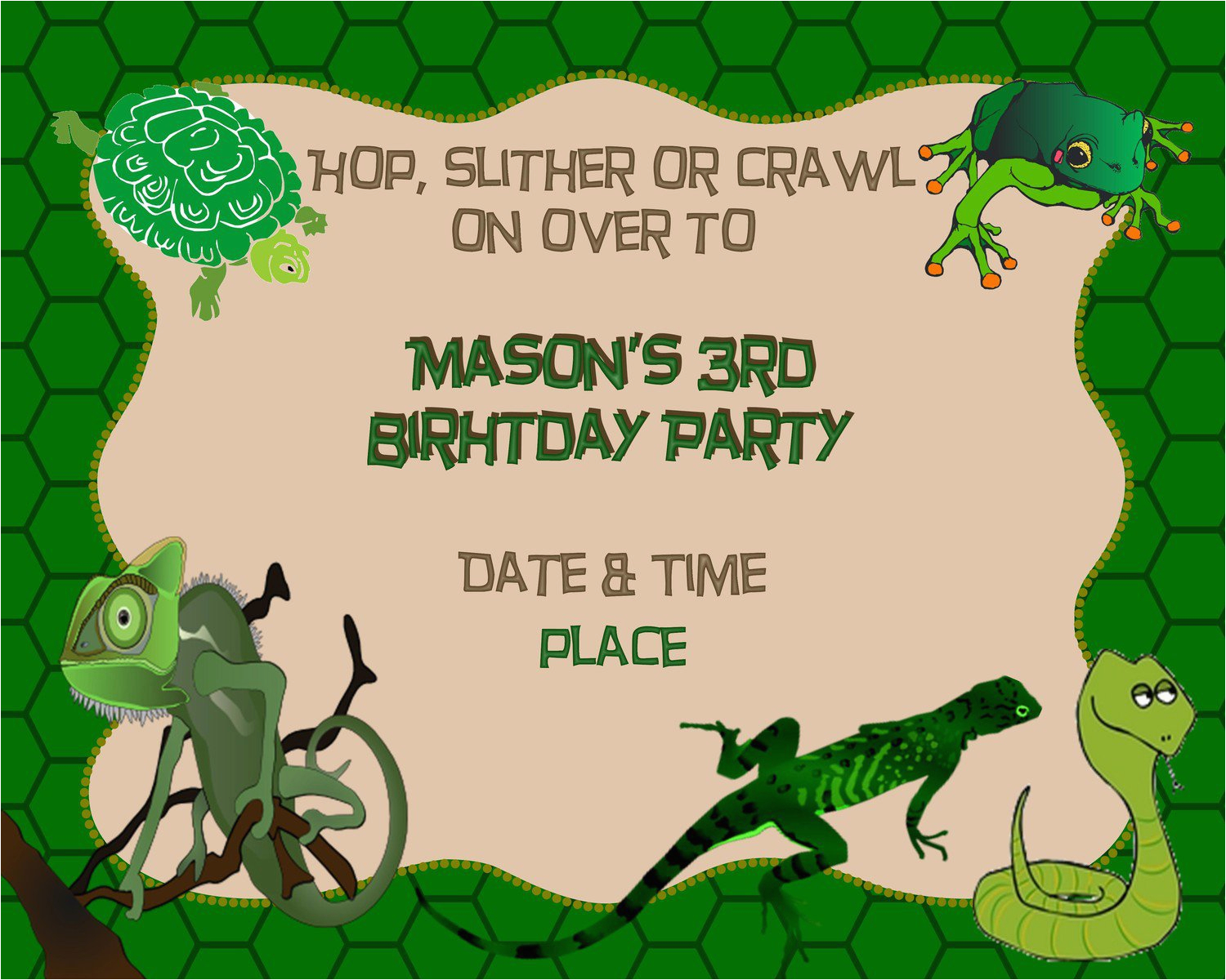 Free Printable Reptile Birthday Invitations Snake Best Party Ideas